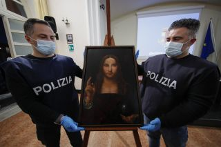 An image shows a 16th Century copy of a painting known as Salvator Mundi and attributed to Leonardo da Vinci. The copy was recently stolen from its home museum and recovered.