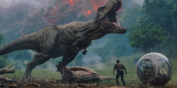 T-rex roaring in Jurassic World: Fallen Kingdom