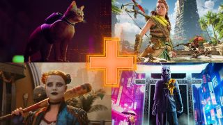 Images of top upcoming PS5 games - clockwise from top left: Stray, Horizon Forbidden West, Ghostwire Tokyo, and Suicide Squad: Kill the Justice League