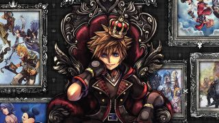 Sora sits on a throne in front of art from the Kingdom Hearts series