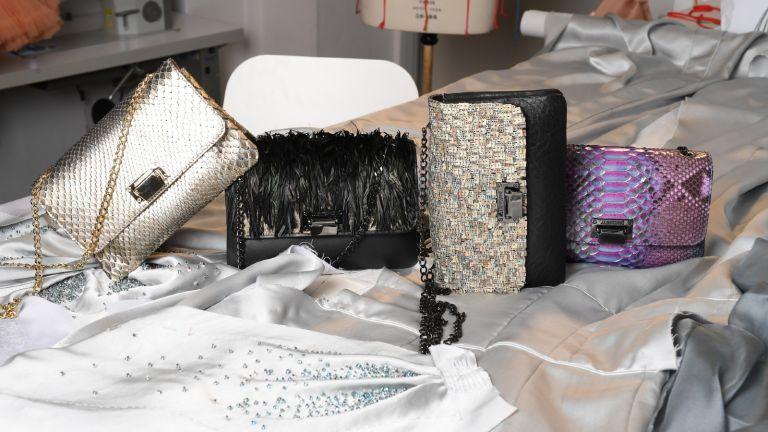 Julien Fournié's handbags in the atelier during Julien Fournié's Haute Couture website launch on December 01, 2020 in Paris, France.
