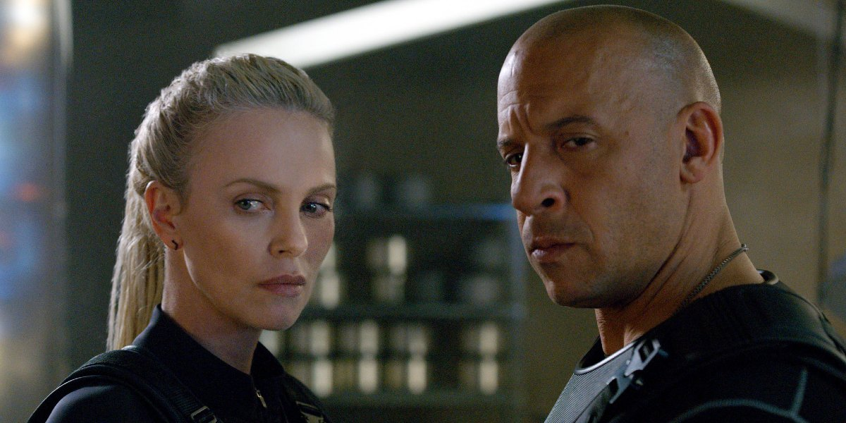 Charlize Theron and Vin Diesel in Fate of the Furious