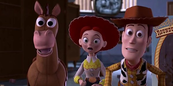 Bullseye, Jessie and Woody with looks of surprise on their faces