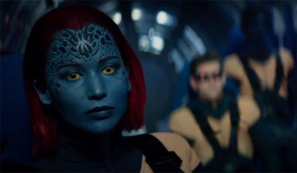 Mystique Cylcops and Nightcrawler in Dark Phoenix flying in space