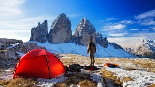 A tent pitched on a mountain range