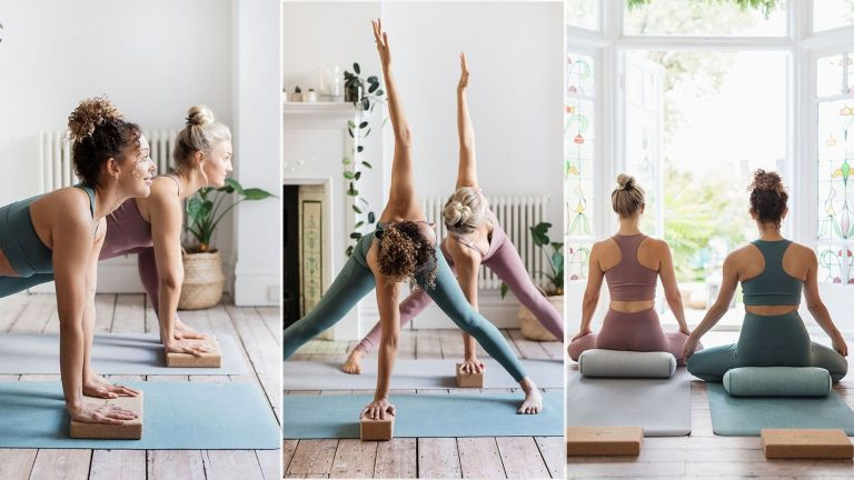 Women working out on Lululemon's The Reversible Mat, one of our best yoga mat picks