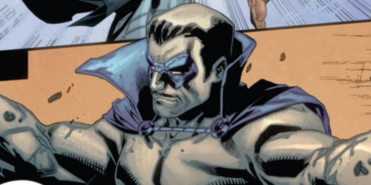A scene in Marvel comics featuring Grey Gargoyle