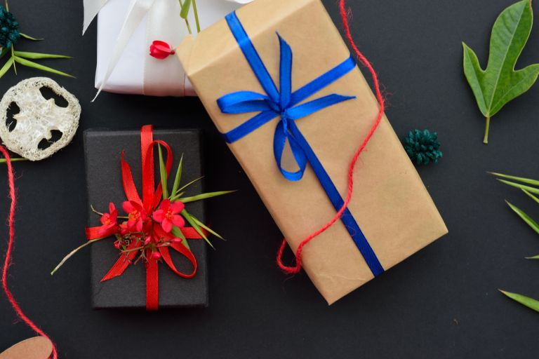 Gifts on a black background