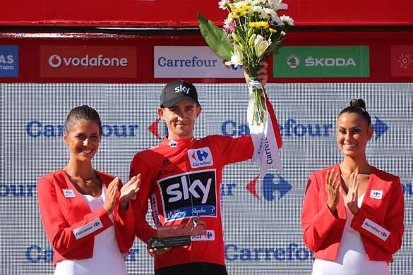 Michal Kwiatkowski (Sky) in the red jersey at the 2016 Vuelta a Espana.