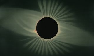 An artistic depiction of the July 29, 1878 total solar eclipse by E.L. Trouvelot.