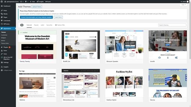 Les sélections de thèmes WordPress