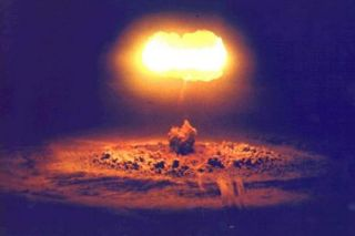 The Stokes atmospheric nuclear test, conducted at the Nevada Test Site on August 7, 1957, exploded from a balloon.