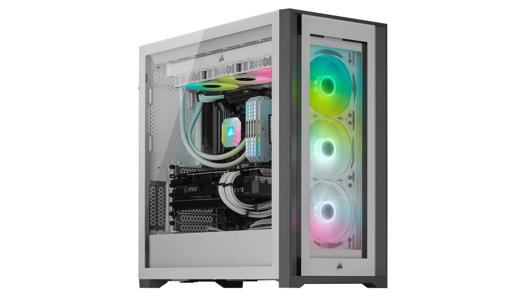 Corsair iCue 5000x white case with full system built inside.