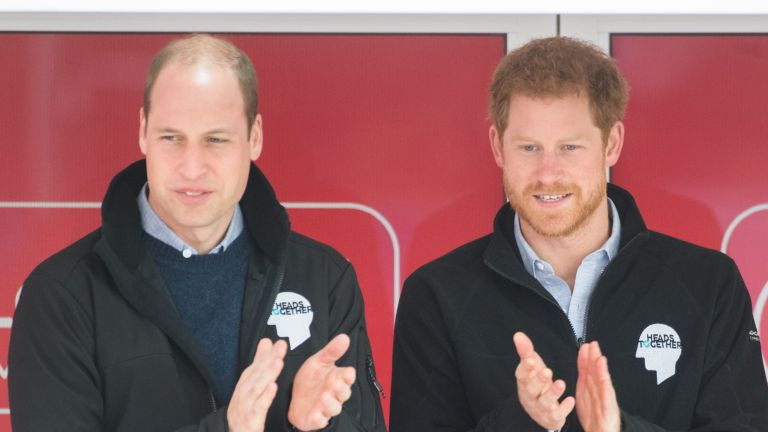 Prince Harry and Prince William, Duke of Cambridge officially start the 2017 Virgin Money London Marathon elite men's and mass race, which includes the Heads Together team, at the 2017 Virgin Money London Marathon on April 23, 2017 in London, England