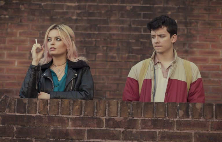 Emma Mackey and Asa Butterfield in Sex Education on Netflix