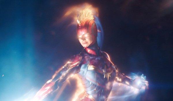 Carol Danvers flying in Captain Marvel