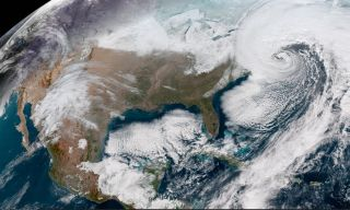 A NOAA satellite called GOES-16 captured this image of a storm along the eastern U.S. on Jan. 4, 2018.