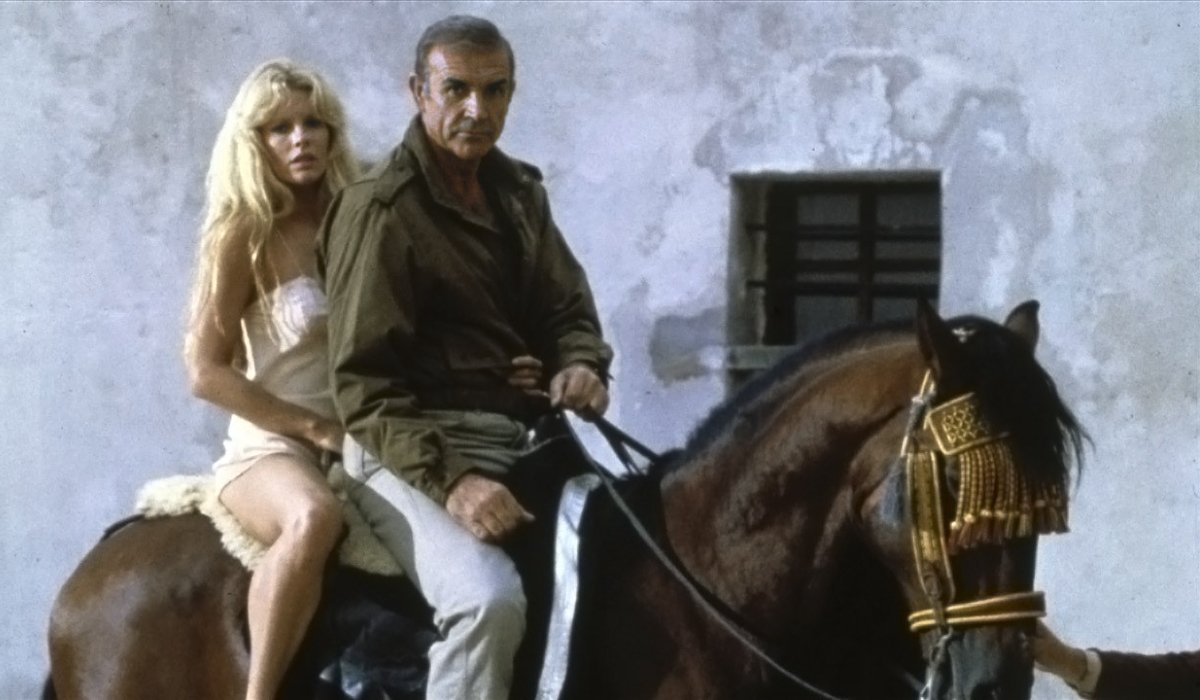 Never Say Never Again Kim Basinger and Sean Connery on horseback