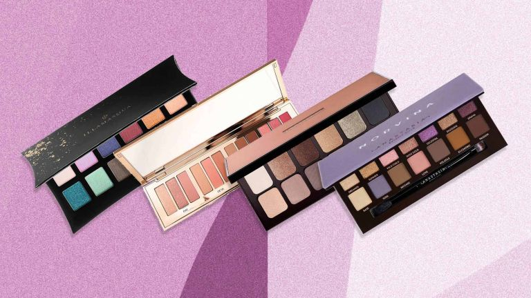 A selection of the best eyeshadow palettes is pictured ontop of a pink gradient background, the selection includes...Illamasqua / Charlotte Tilbury / Laura Mercier / Norvina