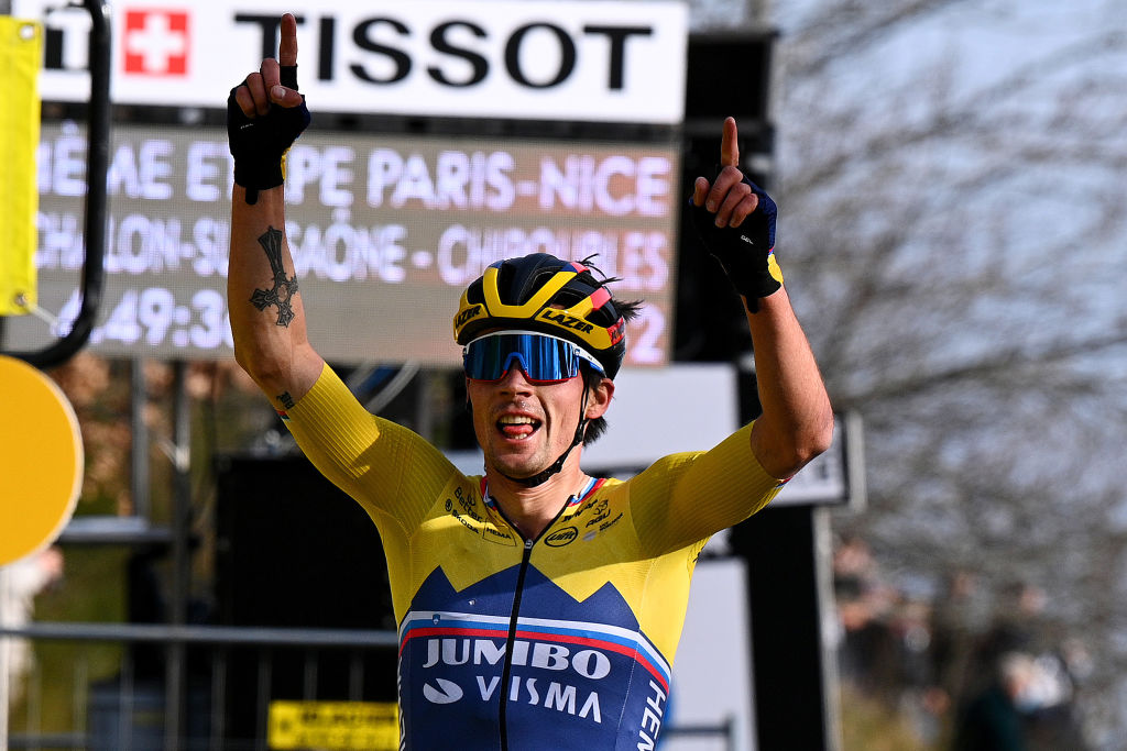 CHIROUBLES FRANCE MARCH 10 Arrival Primoz Roglic of Slovenia and Team Jumbo Visma Celebration during the 79th Paris Nice 2021 Stage 4 a 1875km stage from ChalonSurSane to Chiroubles 702m Breakaway ParisNice on March 10 2021 in Chiroubles France Photo by AnneChristine Poujoulat PoolGetty Images