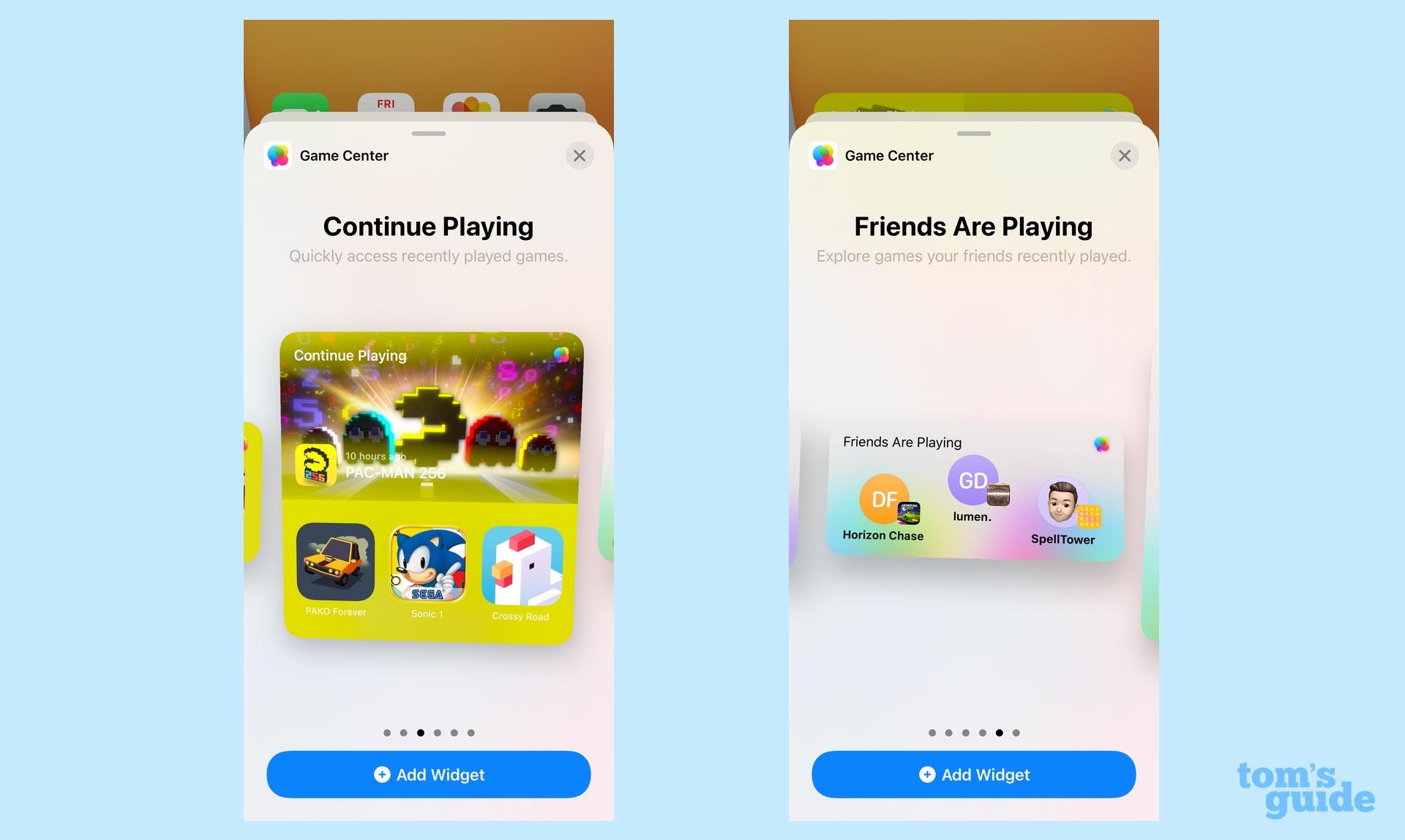 Игровой центр виджетов iOS 15