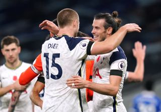 Bale (right) made the difference for Spurs against Brighton