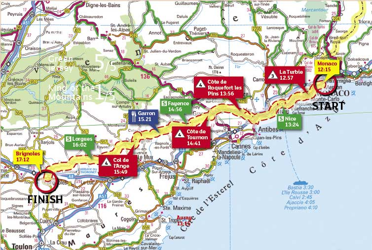 Tour de France 2009 stage 2 map