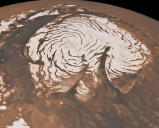 Mars northern polar cap, photographed by the NASA Mars Reconnaissance Orbiter mission.