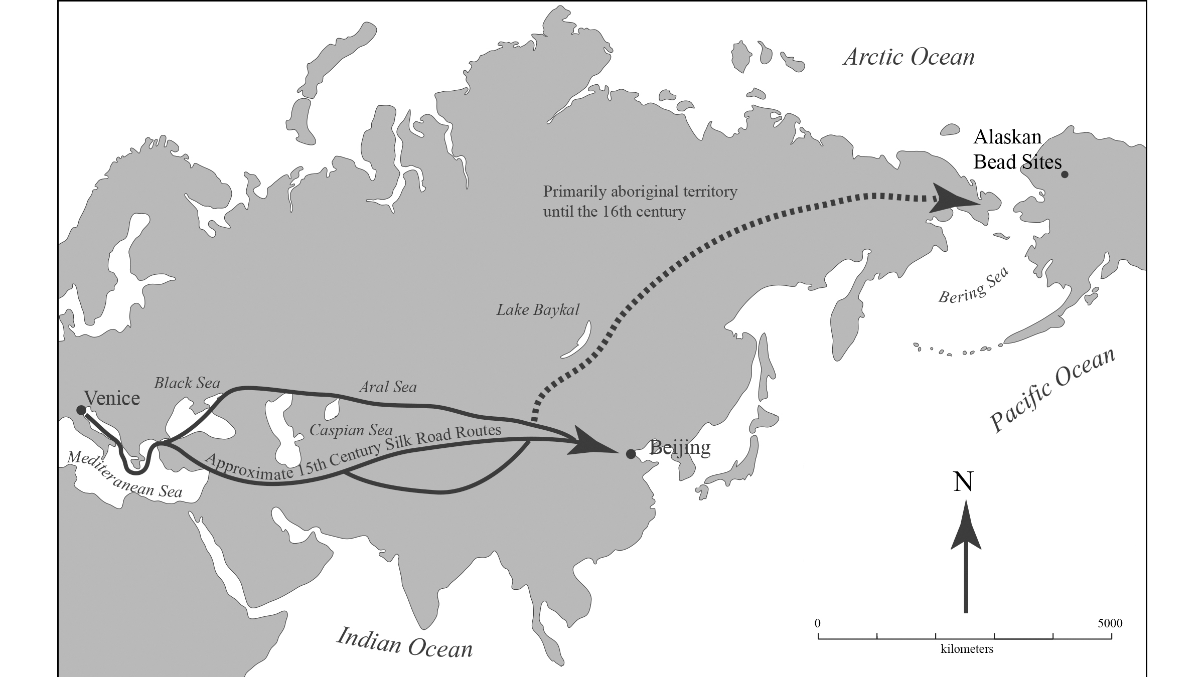 It's unknown how the beads made it from Europe to Alaska, but possible routes are highlighted here.