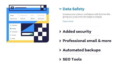 Bluehost vs HostGator - La page Web d'HostGator traitant des fonctionnalités de sécurité