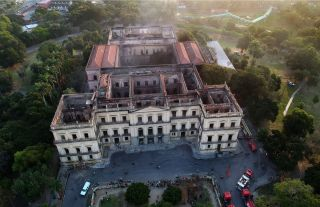 This drone view shows Rio de Janeiro's 200-year-old National Museum, on Sept. 3, 2018, a day after a massive fire ripped through the building.