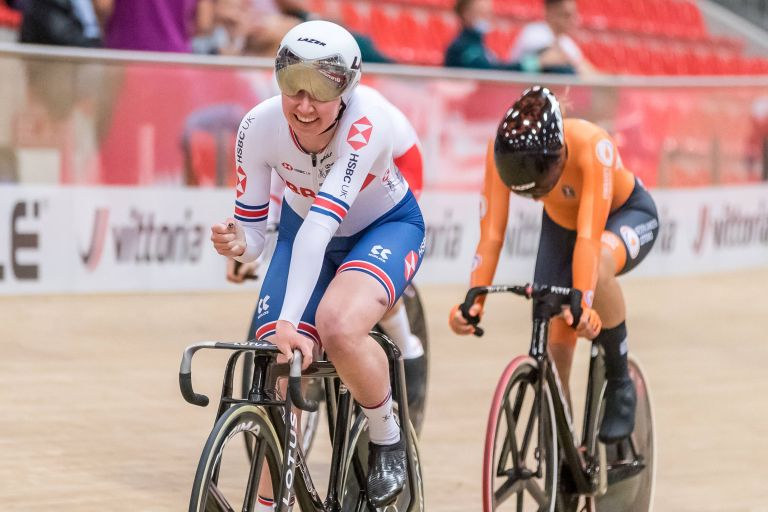 Katie Archibald at the recent UEC European Track Championships 2021
