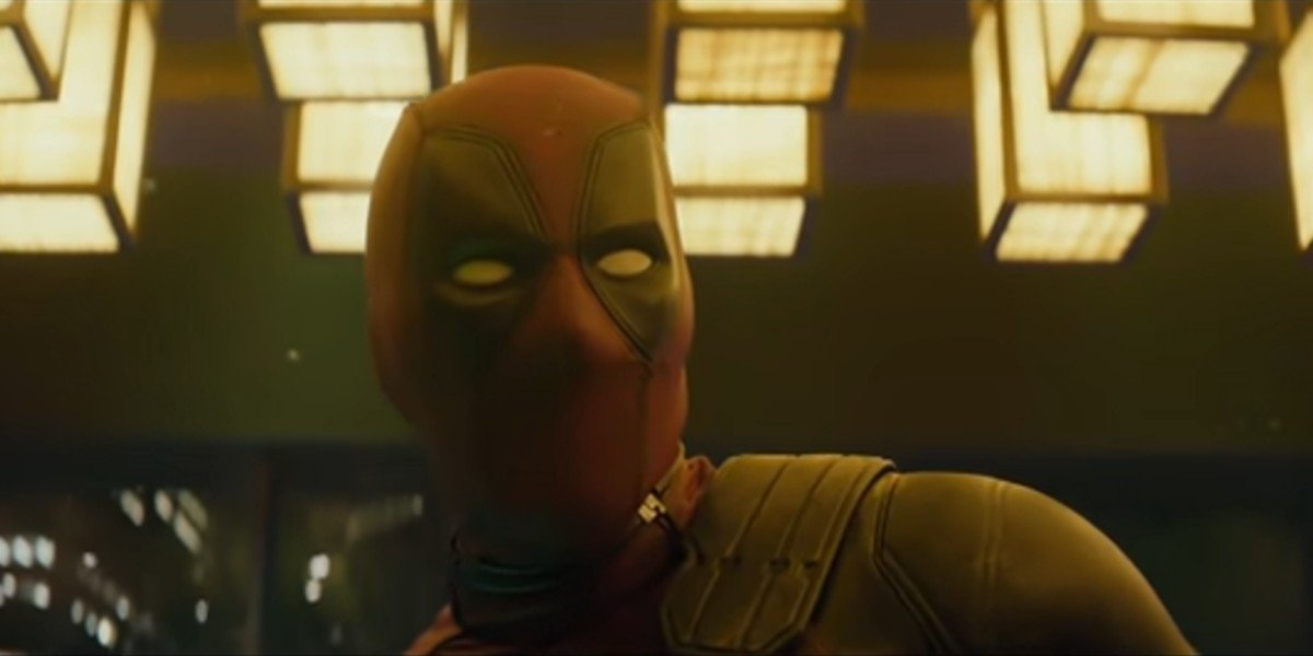 Deadpool being surprised during an intense moment in Deadpool 2