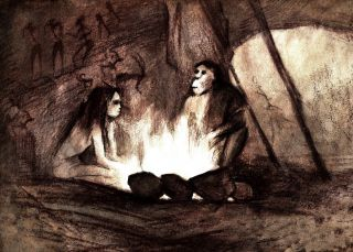 Drawing of neanderthals or ancient humans sitting around a campfire.