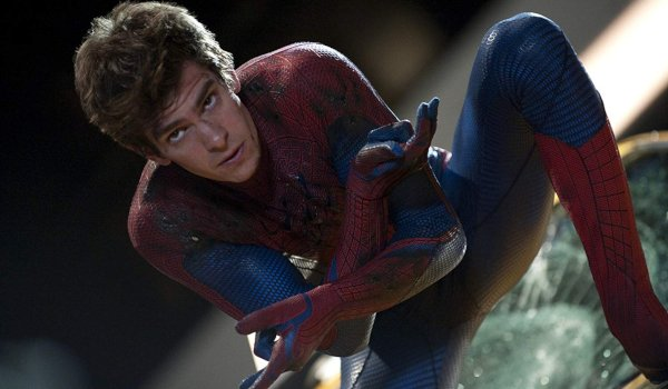 The Amazing Spider-Man Peter Parker ready to sling web on a taxi