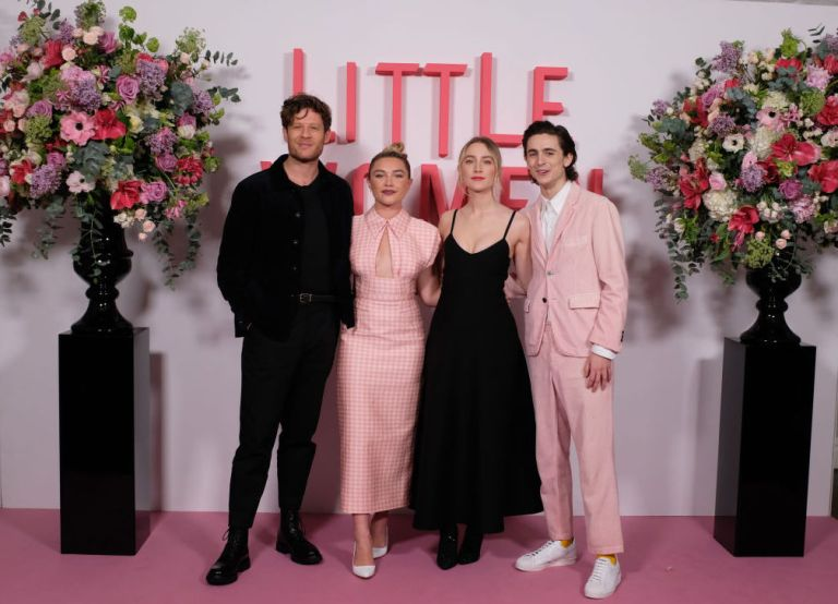 """James Norton, Florence Pugh, Saoirse Ronan and Timothee Chalamet during the """"Little Women"""" photocall"""
