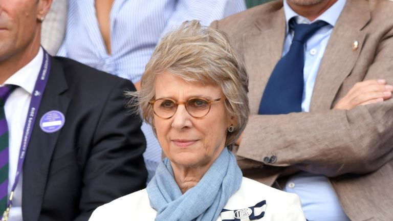 LONDON, ENGLAND - JULY 12: Birgitte, Duchess of Gloucester attends day eleven of the Wimbledon Tennis Championships at All England Lawn Tennis and Croquet Club on July 12, 2019 in London, England. (Photo by Karwai Tang/Getty Images)