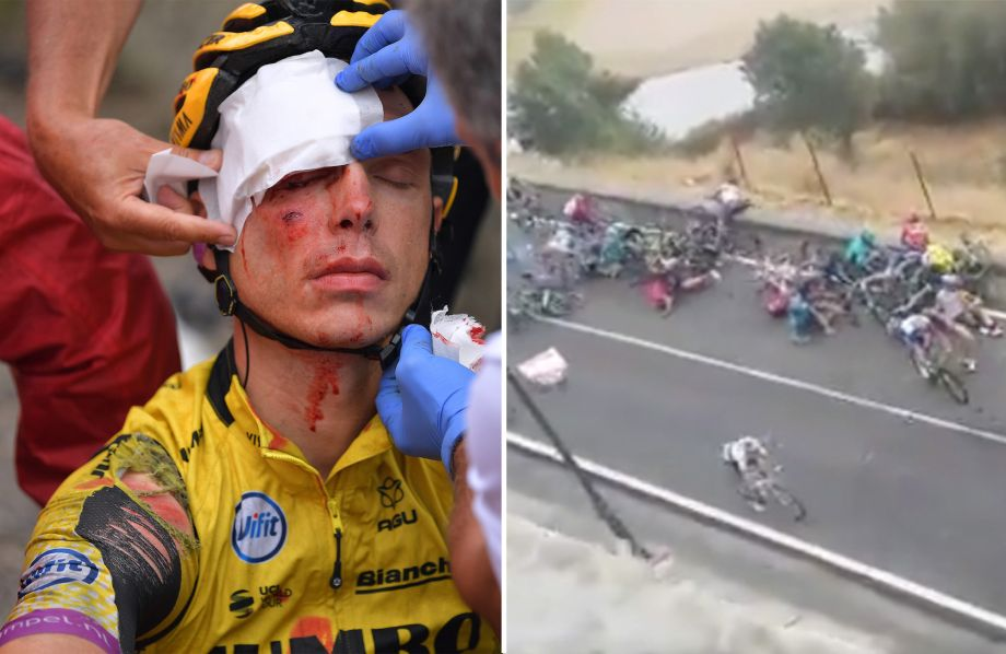 Fan footage shows massive Vuelta crash that brought down Roglič, López and Tony Martin