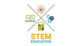 Illustration titled STEM Education: Icons for atom, gears, calculator and computer arranged in quadrants
