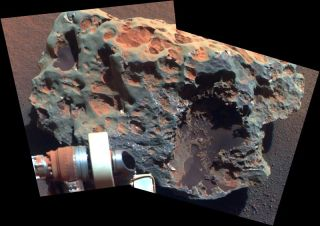 "Photo of the largest meteorite found on Mars called' Block Island"" from Mars Rover Opportunity."