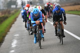 ASTI ITALY OCTOBER 23 Alex Dowsett of The United Kingdom and Team Israel StartUp Nation Victor Campenaerts of Belgium and NTT Pro Cycling Team Breakaway during the 103rd Giro dItalia 2020 Stage 19 a 1245km stage from Abbiategrasso to Asti Stage shortened due to heavy rain girodiitalia Giro on October 23 2020 in Asti Italy Photo by Tim de WaeleGetty Images