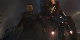 Hulk, Ant-Man, War Machine and Rocket Raccoon in Avengers: Endgame