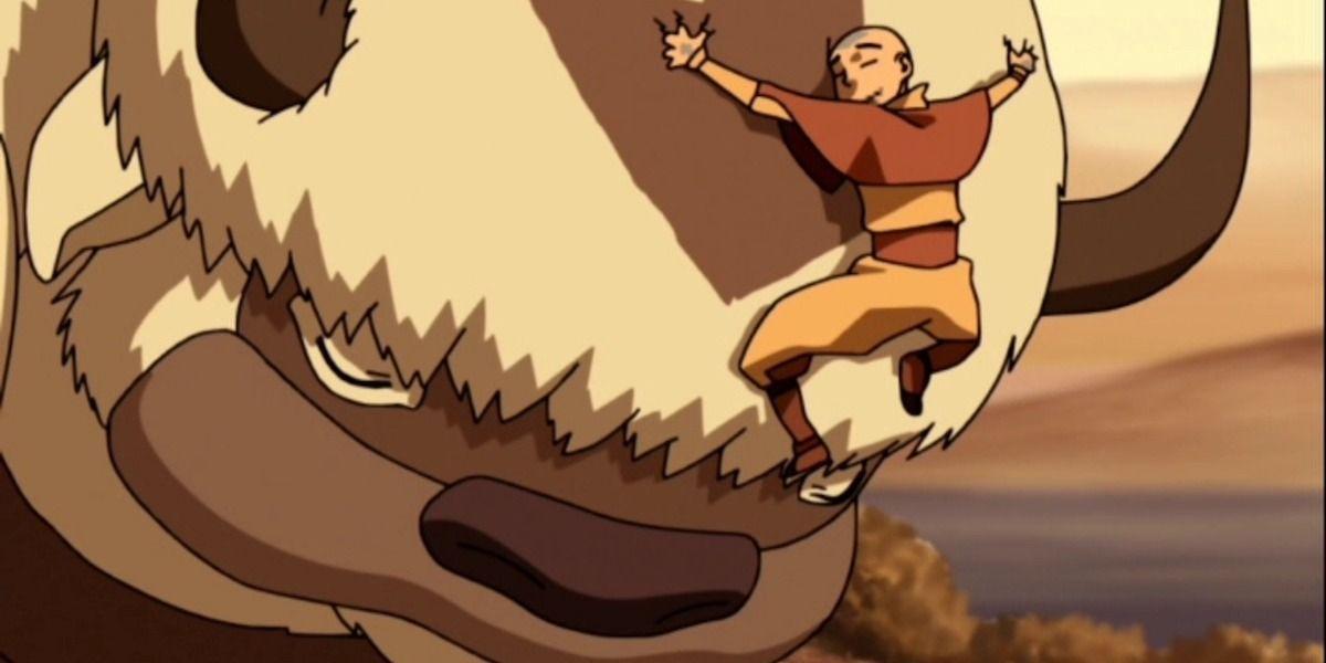Appa and Aang.