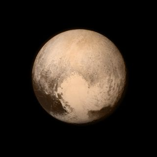 Pluto, imaged by the New Horizons probe. The heart-shaped region in the lower hemisphere was renamed recently by the mission team, from Sputnik Planum to Sputnik Planitia.