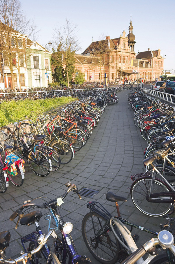 Bicycle parking in front of the railway station at Delft, Holland