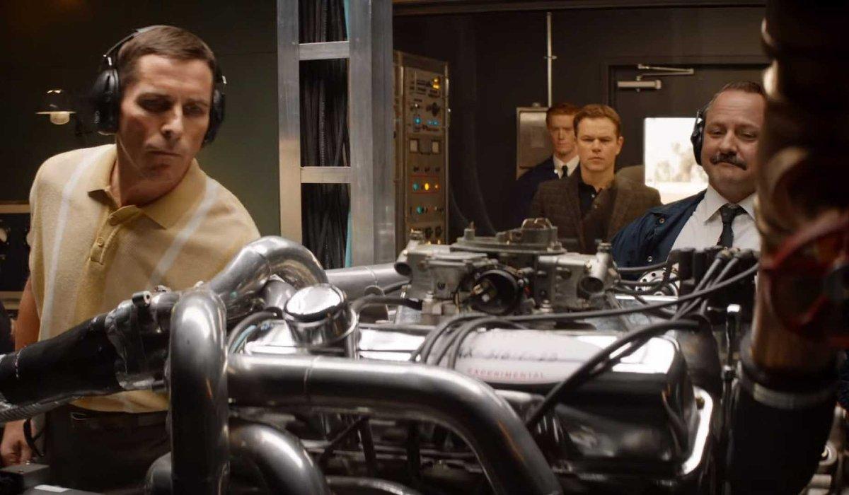 Ford v Ferrari Christian Bale examining an engine