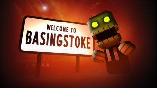 "A cartoon zombie stands next to a ""Welcome to Basingstoke"" sign."