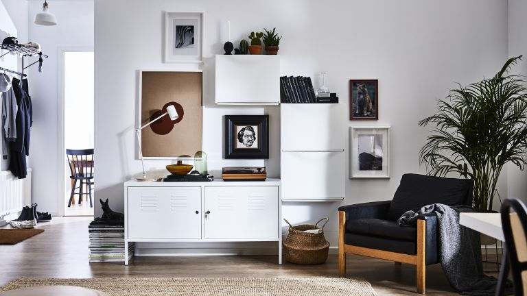 Modern living room with storage by Ikea