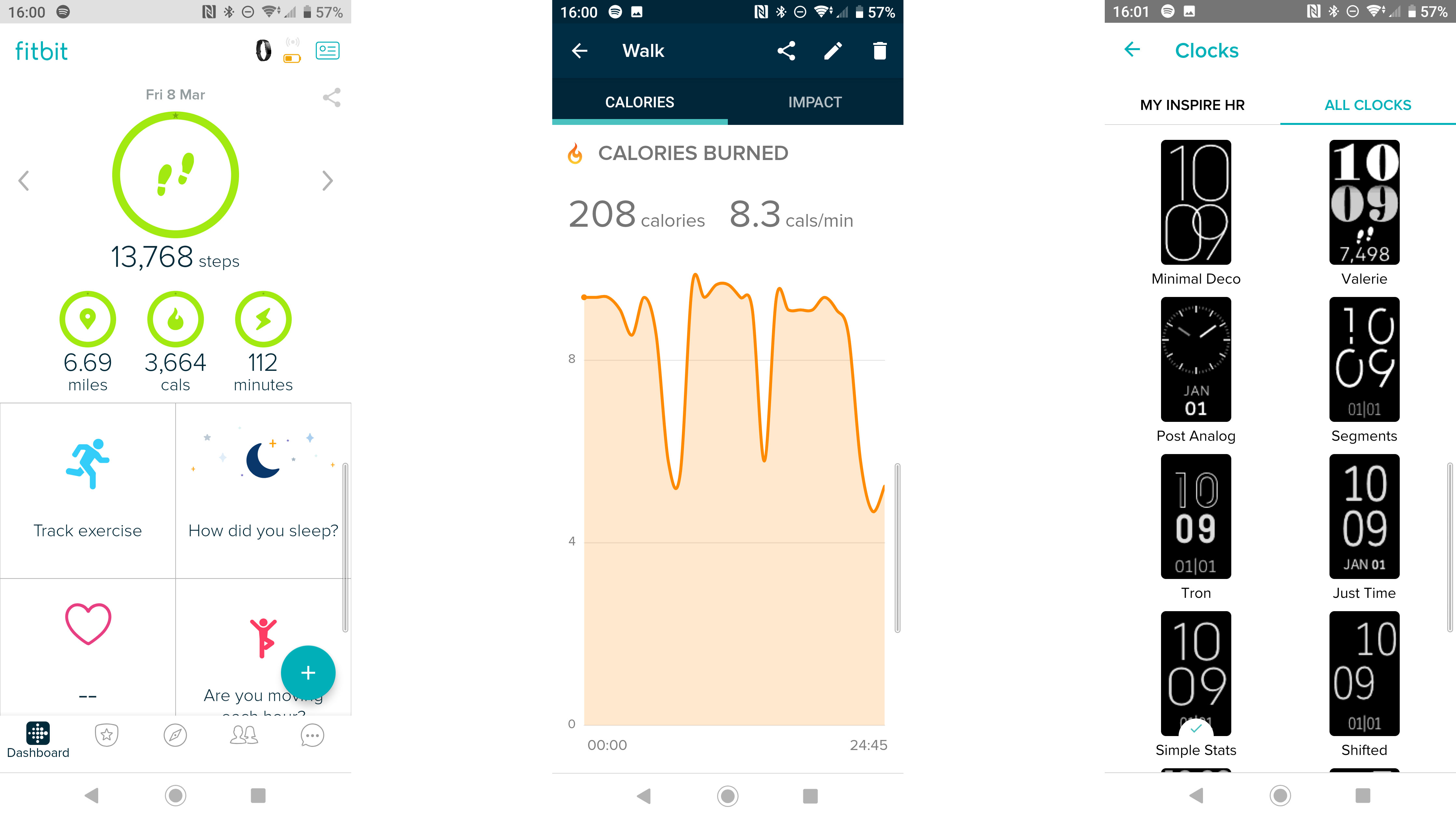 An example of some of the screens you'll find within the Fitbit Inspire HR app.