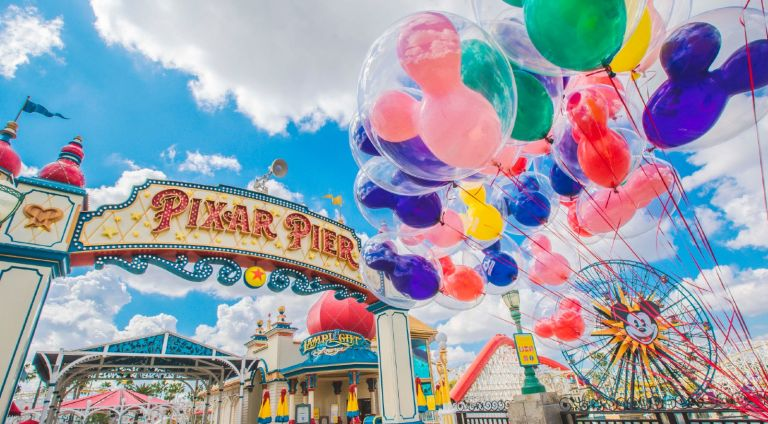 A view of Pixar Pier at Disneyland Park on March 12, 2021 in Anaheim, California. Disneyland plans to reopen on April 30, 2021.